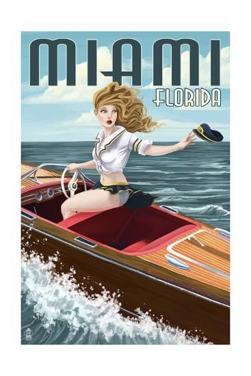 Miami, Florida - Pinup Girl Boating-Lantern Press-Art Print