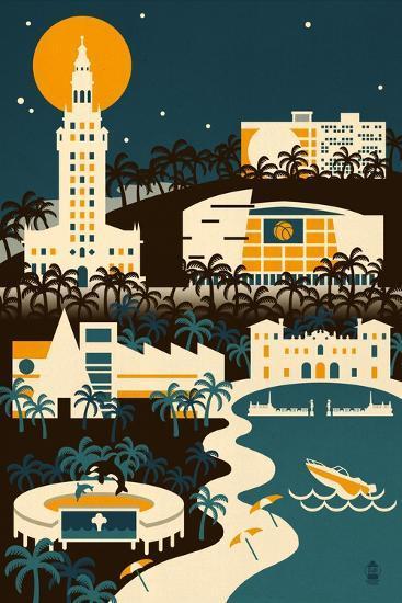 Miami, Florida - Retro Skyline (no text)-Lantern Press-Art Print