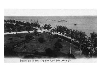 Miami, Florida - Royal Palm Hotel Grounds and Biscayne Bay View-Lantern Press-Art Print