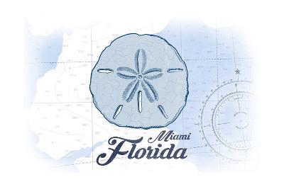 Miami, Florida - Sand Dollar - Blue - Coastal Icon-Lantern Press-Art Print