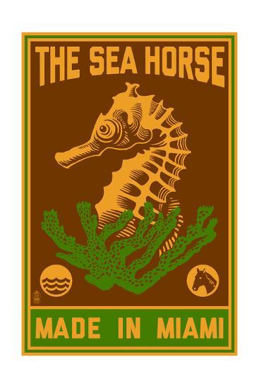 Miami, Florida - Seahorse Woodblock (Red and Green)-Lantern Press-Art Print
