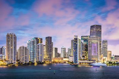 Miami, Florida Skyline at Brickell Key and Miami River.-SeanPavonePhoto-Photographic Print
