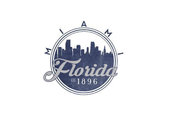 Miami, Florida - Skyline Seal (Blue)-Lantern Press-Art Print