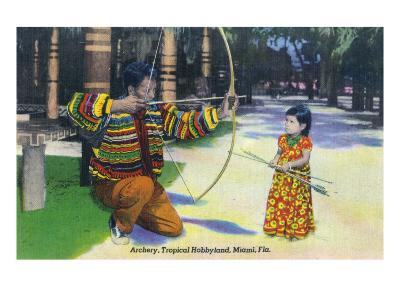 Miami, Florida - Tropical Hobbyland; Seminole Dad Showing Daughter Archery-Lantern Press-Art Print