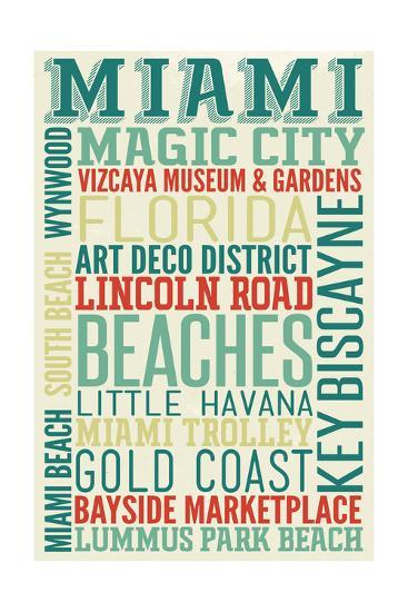 Miami, Florida - Typography-Lantern Press-Art Print