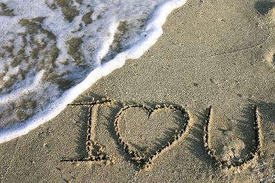 Miami, Florida, USA. I Love You Written in the Sand-Julien McRoberts-Photographic Print