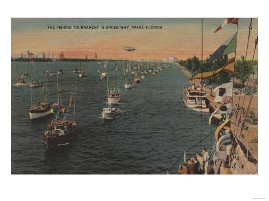 Miami, Florida - View of Fishing Tournament & Boats-Lantern Press-Art Print