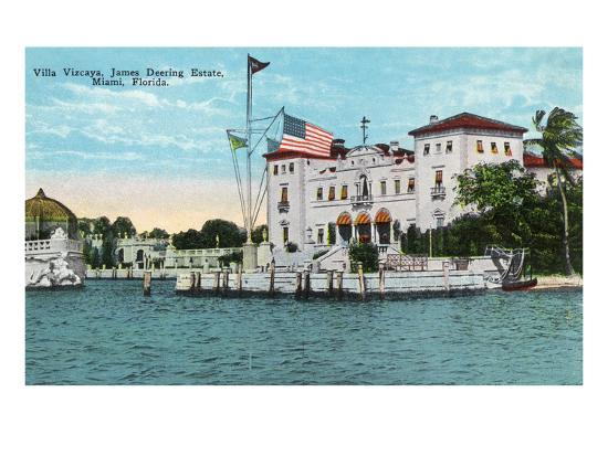 Miami, Florida - Villa Vizcaya, James Deering Estate Scene-Lantern Press-Art Print