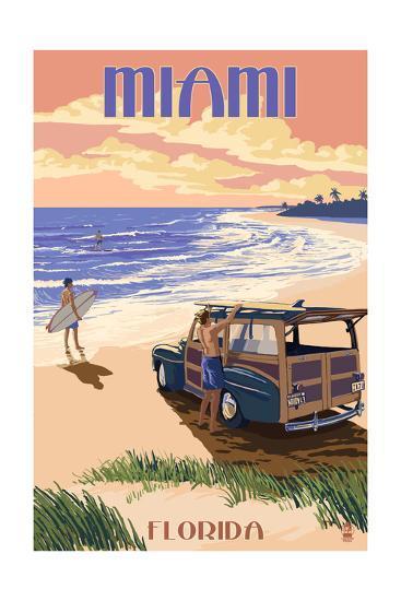 Miami, Florida - Woody on the Beach-Lantern Press-Art Print