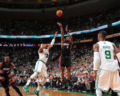 Miami Heat v Boston Celtics - Game Four, Boston, MA - MAY 9: LeBron James and Paul Pierce-Brian Babineau-Photo
