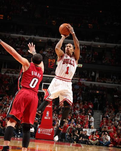 Miami Heat v Chicago Bulls - Game Five, Chicago, IL - MAY 26: Derrick Rose and Mike Bibby-Nathaniel S. Butler-Photo