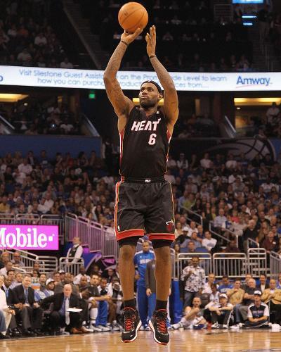 Miami Heat v Orlando Magic: LeBron James-Mike Ehrmann-Photo