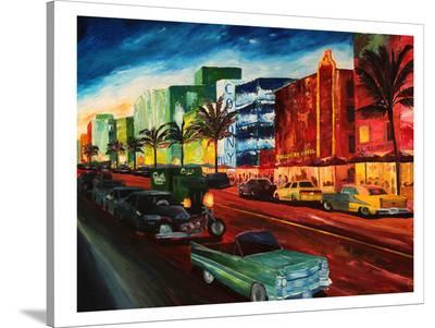 Miami Ocean Drive With Mint Cadillac-M Bleichner-Stretched Canvas Print