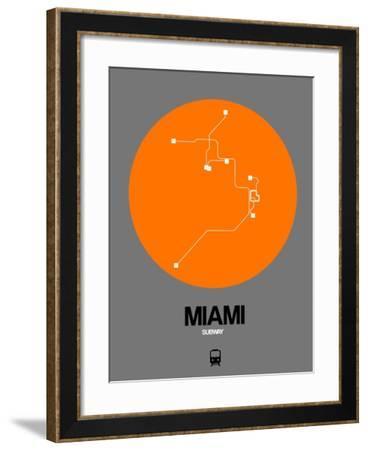 Miami Orange Subway Map-NaxArt-Framed Art Print