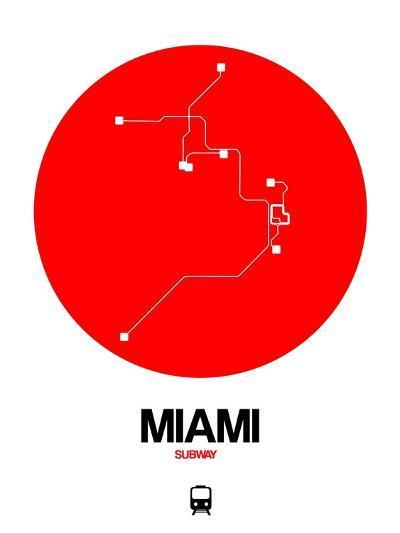 Miami Red Subway Map-NaxArt-Art Print