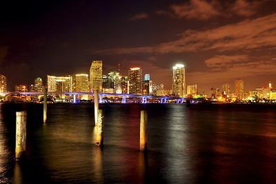 Miami Skyline at Night-Shobeir Ansari-Photographic Print