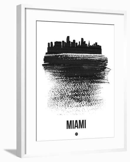 Miami Skyline Brush Stroke - Black-NaxArt-Framed Art Print