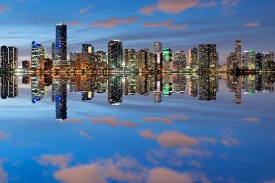 Miami Skyline Seen from Key Biscayne at Dusk with Beautiful Reflections-badboo-Photographic Print