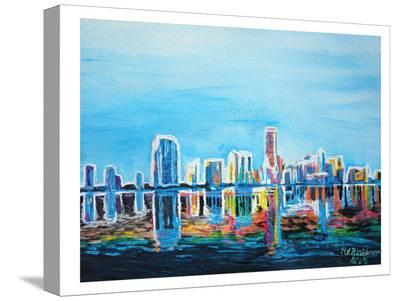 Miami Skyline Silhouette-M Bleichner-Stretched Canvas Print
