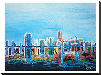 Miami Skyline Silhouette-M Bleichner-Stretched Canvas Print