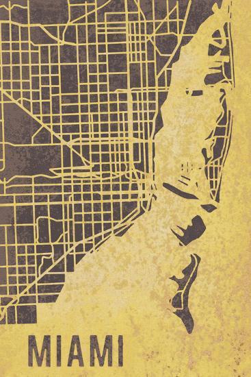 Miami Street Map-Tom Frazier-Giclee Print