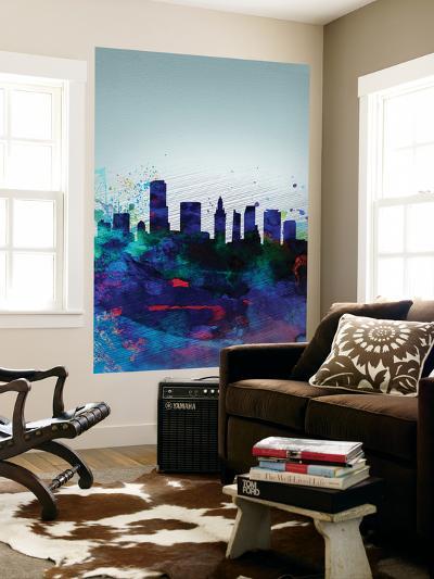 Miami Watercolor Skyline-NaxArt-Wall Mural