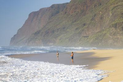 Fishermen Enjoy the Beach, Polihale State Beach Park, Kauai, Hawaii