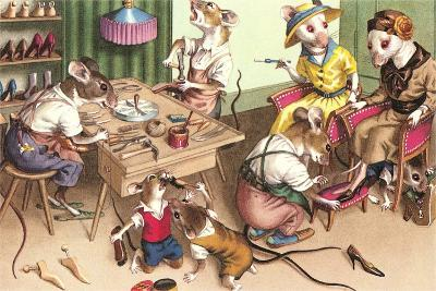 Mice in Cobblers Shop--Art Print