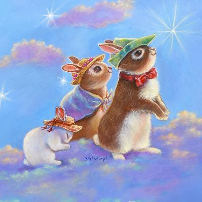 Mice, Squirrel and Bunny family in Clouds II-Judy Mastrangelo-Giclee Print