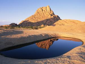 Spitzkoppe Granite Outcrop in Southern Damaraland with Ephemeral Pool, Namib Desert, Namibia by Michael and Patricia Fogden/Minden Pictures