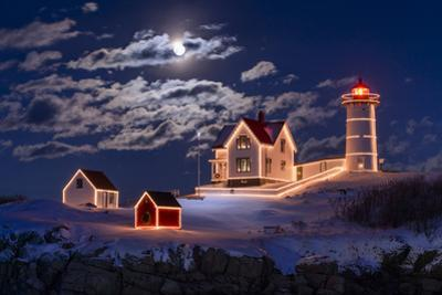 Moon Over Nubble by Michael Blanchette Photography