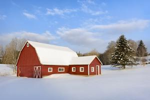 Red Barn in Snow by Michael Blanchette