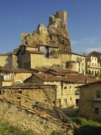 Castle on Skyline and Village Houses, Frias, Castile Leon, Spain, Europe