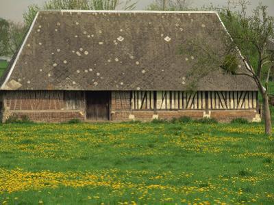 Half Timbered Farm Building Near Pont Audemer, Marais Vernier, Haute Normandie, France
