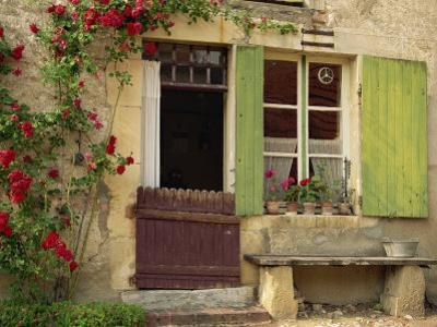 House with Green Shutters, in the Nevre Region of Burgundy, France, France