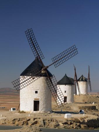 Line of Windmills Above the Village of Consuegra, Ruta De Don Quixote, Castile La Mancha, Spain