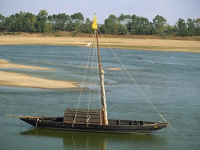 Small Boat Moored on the River Loire Near Mont Jean in Pays De La Loire, France, Europe