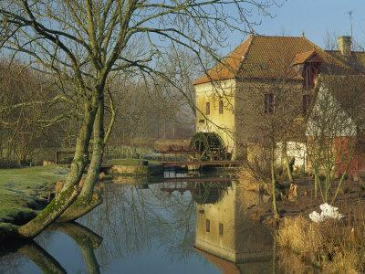 Watermill Reflected in Still Water, Near Montreuil, Crequois Valley, Nord Pas De Calais, France