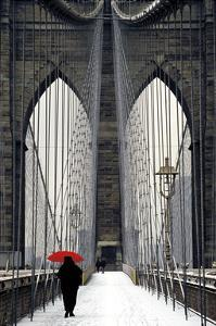 Brooklyn Bridge Meets Red by Michael Cahill