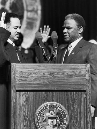 Harold Washington, Swearing in as Mayor of Chicago, Illinois 1983