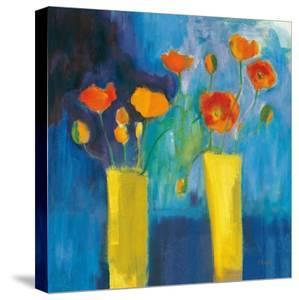 Cadmium Orange Poppies on Blue v2 by Michael Clark