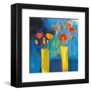 Cadmium Orange Poppies on Blue v2 by Michael Clark