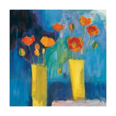 Cadmium Orange Poppies on Blue
