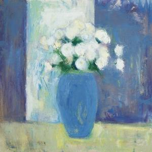 Ranunculi in Blue Vase White Flowers by Michael Clark