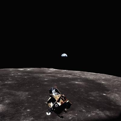 Lunar Module, Earth, and Moon