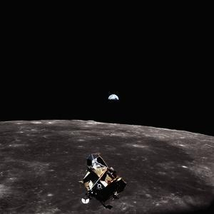 Lunar Module, Earth, and Moon by Michael Collins