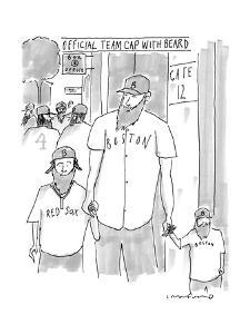 """A man and his two sons, all wear Red Sox gear including """"official team cap? - New Yorker Cartoon by Michael Crawford"""