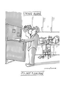 """(A man drinks milk straight from the carton in a very messy kitchen ? """"Liv? - New Yorker Cartoon by Michael Crawford"""