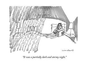 A married couple in bed, where the husband is getting rained on, and the w? - New Yorker Cartoon by Michael Crawford
