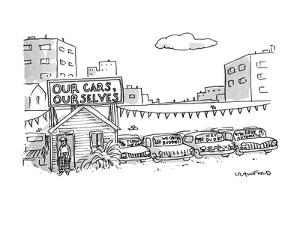 """A used car lot with a sign that says """"Our Cars, Ourselves"""" -- based the po?"""" - New Yorker Cartoon by Michael Crawford"""